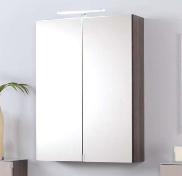 Spiegelschrank Badezimmer 2-türig Eiche Dunkel mit LED Beleuchtung ...