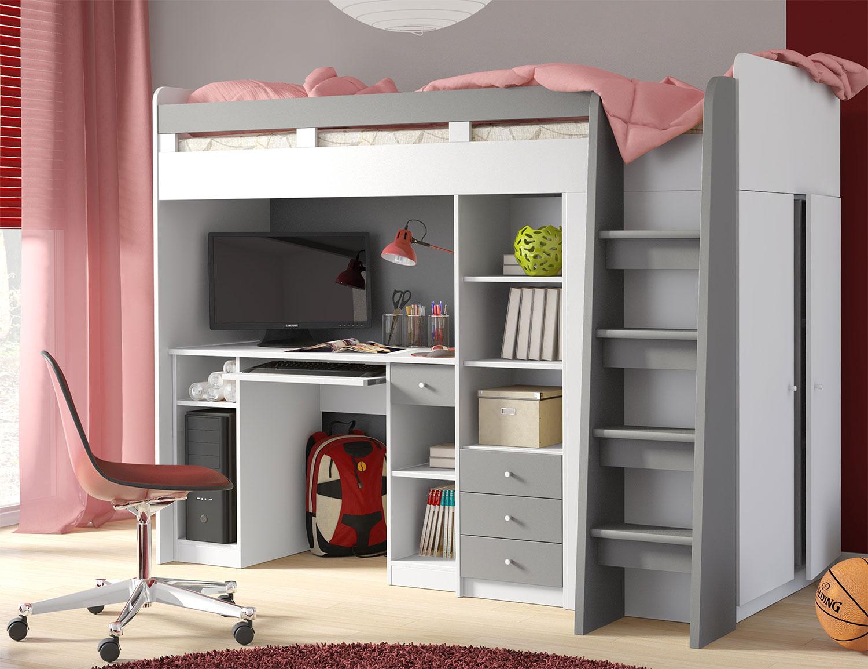 Hochbett Etagenbett Holzbett Kleiderschrank Schreibtisch weiß / alu ...