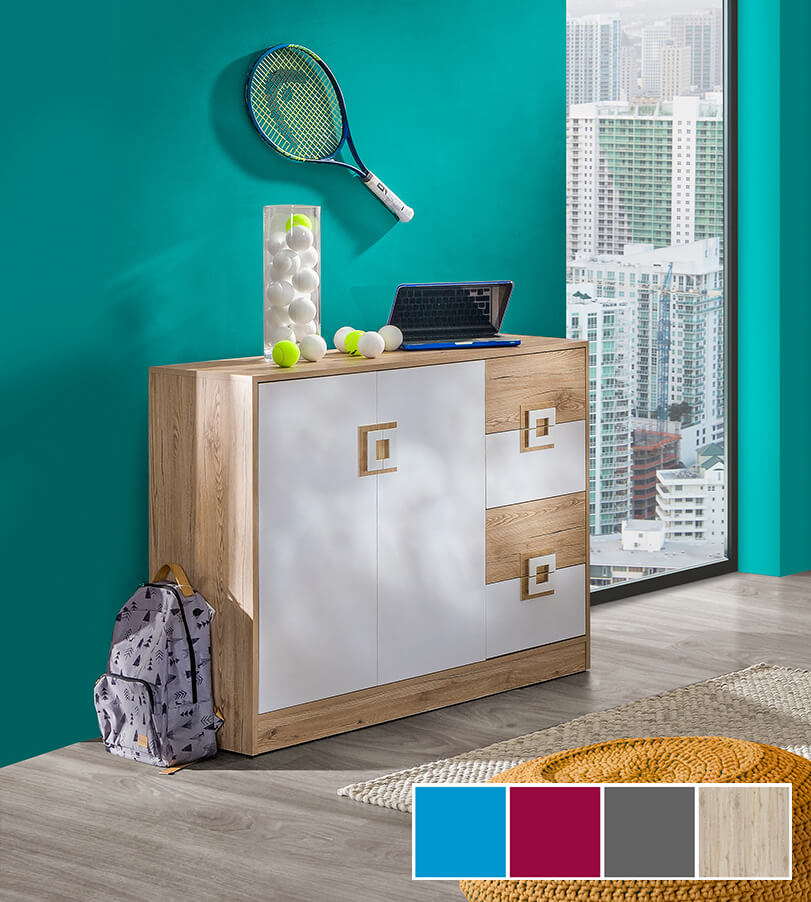 sideboard kommode anrichte mehrzweckschrank 120cm eiche. Black Bedroom Furniture Sets. Home Design Ideas