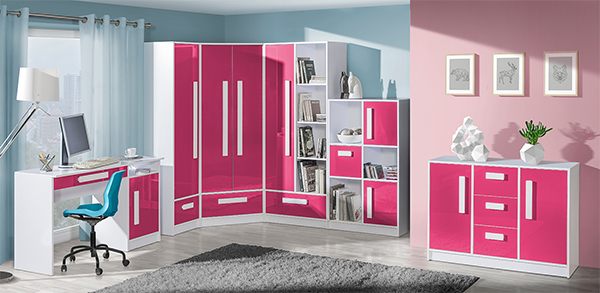 Jugendzimmer Komplett 6 Teilig Weiss Hochglanz Farbe Der Front