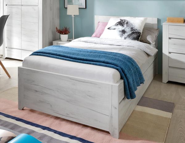 Bett Mit Ausziehfunktion Jugendbett Mit Bettschublade Weißeiche