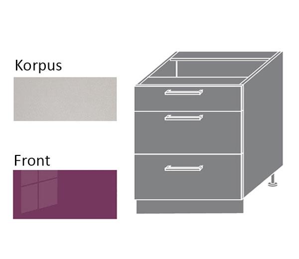 unterschrank k chenschrank schrank 80cm grau violett hochglanz pn d3m 80 ebay. Black Bedroom Furniture Sets. Home Design Ideas