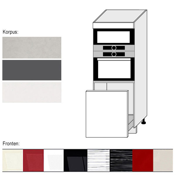 hochschrank f r backofen u mikrowelle 60cm korpus und frontfarbe w hlbar pn d5ae 60 154. Black Bedroom Furniture Sets. Home Design Ideas