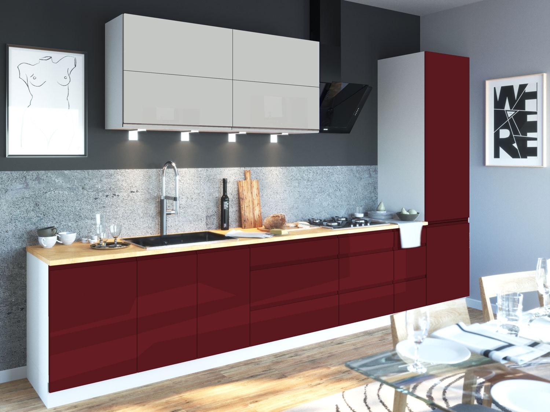 lackierte k chenzeile k chenblock wei hochglanz frontfarbe w hlbar 161435 ebay. Black Bedroom Furniture Sets. Home Design Ideas