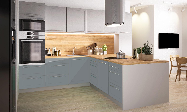 Küchenzeile Küchenblock Küche L-Form 340x244cm grau / dust grey ...