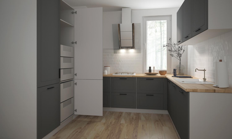Küchenzeile Küchenblock Küche U-Form 120x230x210cm weiß / graphit ...