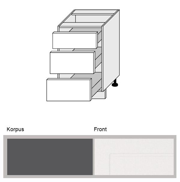 Extrem Küchenschrank Unterschrank 50cm Küche lava / weiß (Q-D3M/50 RV64