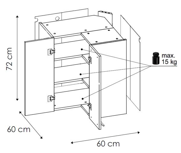 Eck Hangeschrank Kuchenschrank 60x60cm Mit Einlegeboden 2 Turig Neu
