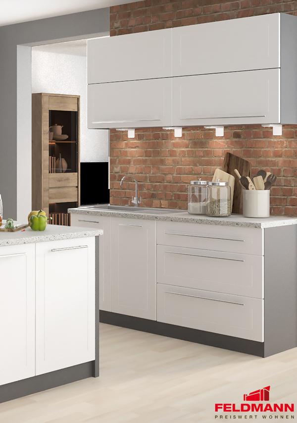 Küchenblock Küchen mit Spülunterschrank Set lava / weiß matt ...