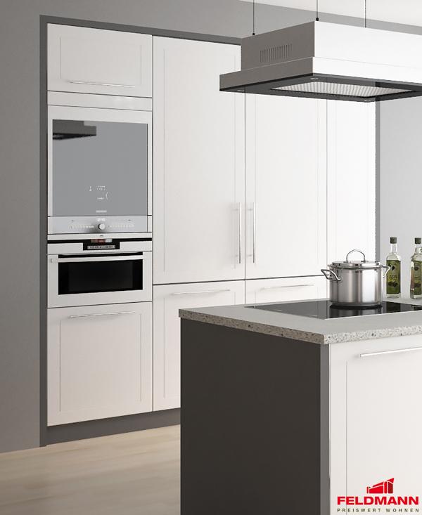 Details zu Küchenblock Küche Komplett Hochschrank Set 4teilig lava / weiß  matt 921903