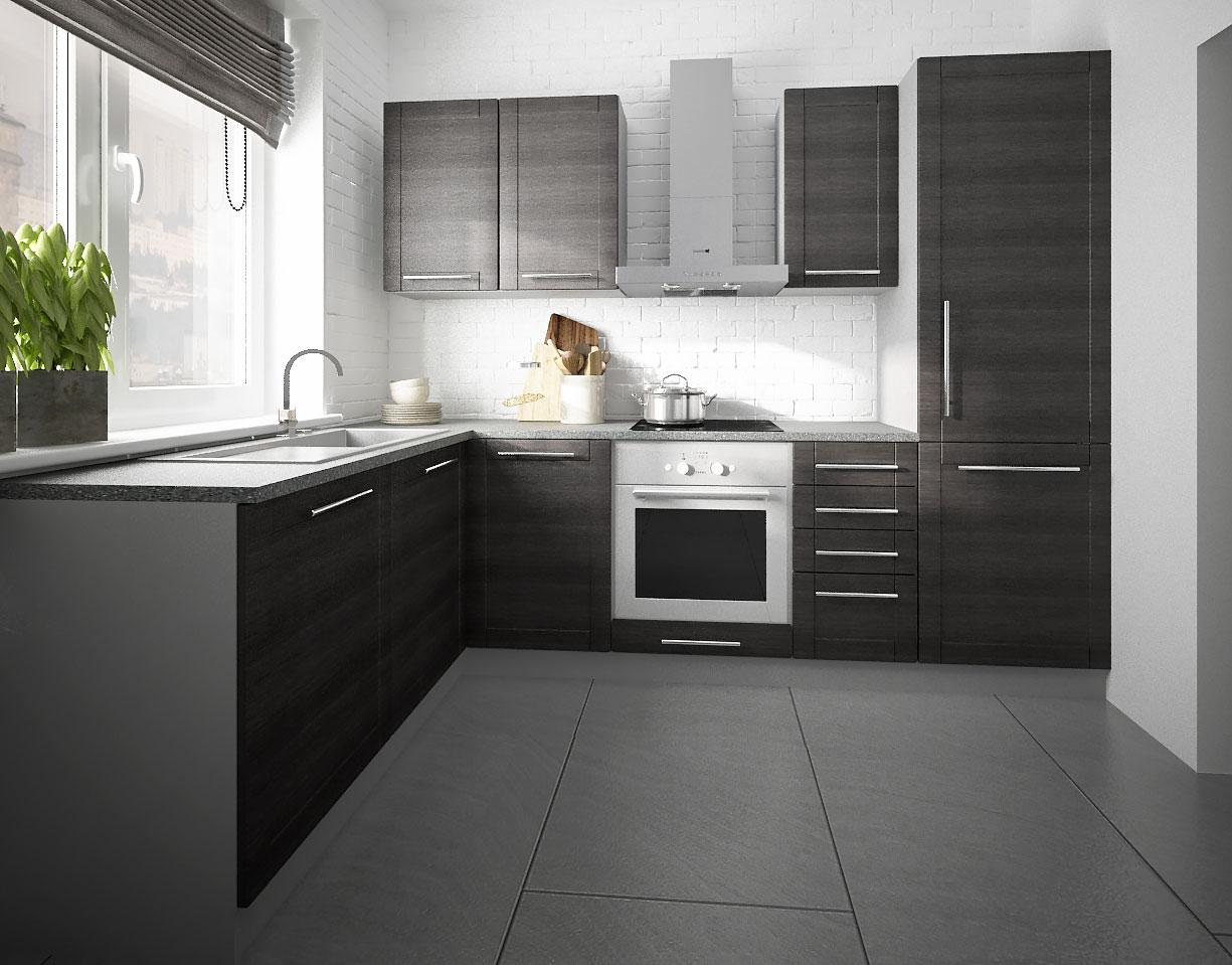 Küche Komplett Küchenzeile L-Form 140x250cm grau / fino schwarz ...