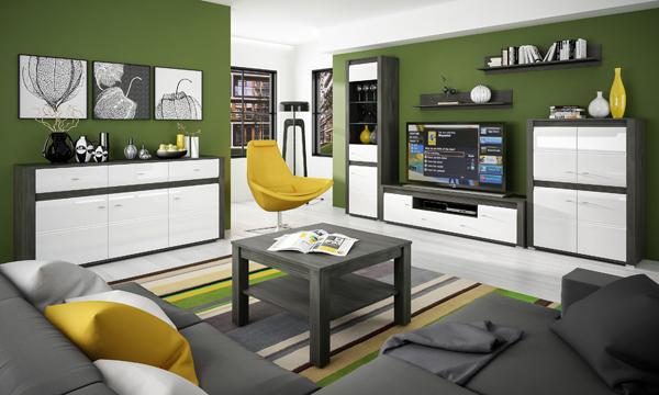 Wohnzimmer komplett Wohnwand 4-teilig schwarzkiefer / weiß Hochglanz ...