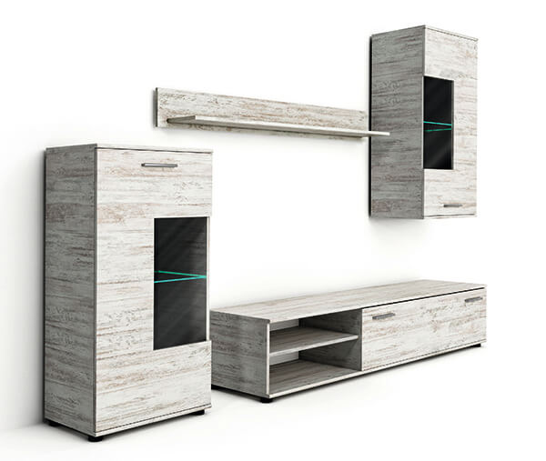 wohnwand anbauwand mediawand wohnzimmer canyon kiefer wei 240cm 72000 ebay. Black Bedroom Furniture Sets. Home Design Ideas