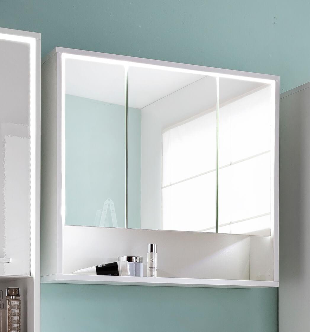 Spiegelschrank 17cm weiß Hochglanz Schrank Badezimmer Badschrank