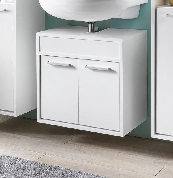 waschbeckenunterschrank 57cm badezimmer waschtisch t ren wei 72024 ebay. Black Bedroom Furniture Sets. Home Design Ideas