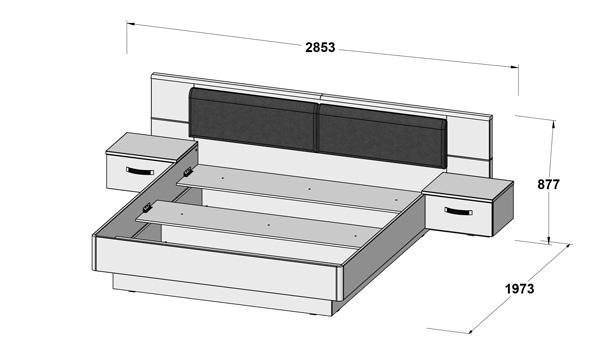 Schlafzimmer Komplett 3 Teilig Mit Beleuchtung 180x200cm Betonoptik