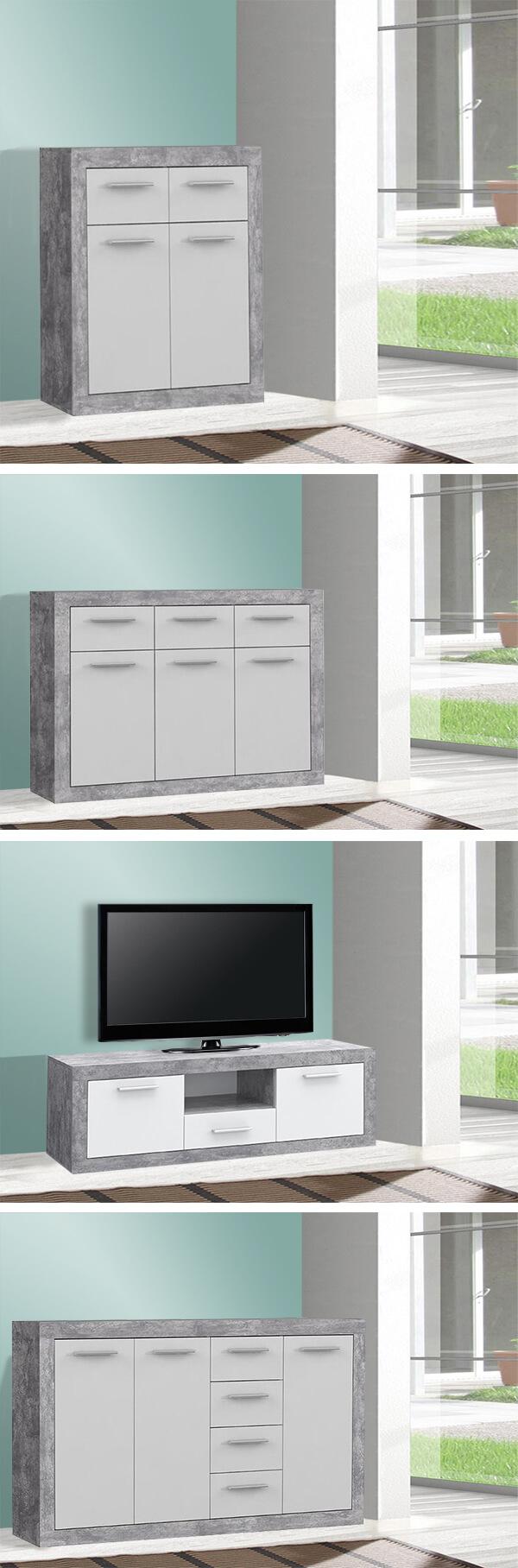 lowboard tv schrank fernsehtisch 148cm beton lichtgrau wei 62996 ebay. Black Bedroom Furniture Sets. Home Design Ideas