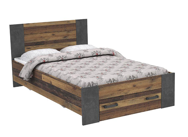 bett futonbett mit schublade old wood vintage beton dunkelgrau 140x200cm neu betten kinder. Black Bedroom Furniture Sets. Home Design Ideas