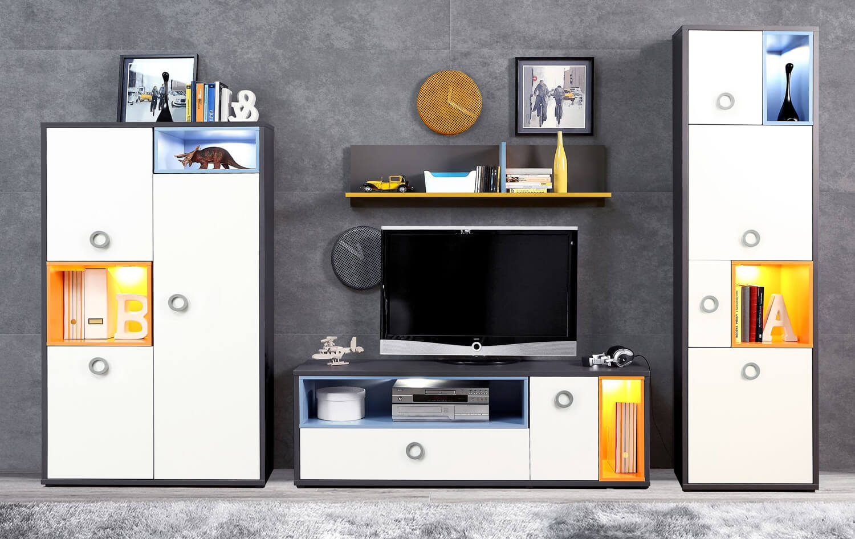Jugendzimmer Wohnwand Mit Tv Element 5 Teilig Grau Orange Blau Weiss 62754 Ebay