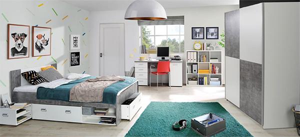 bett stauraumbett funktionsbett 140x200cm beton lichtgrau wei neu betten kinder. Black Bedroom Furniture Sets. Home Design Ideas