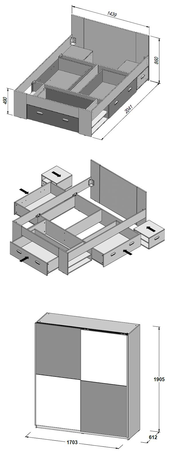 jugendzimmer set 2 teilig kleiderschrank bett beton lichtgrau wei 63011 ebay. Black Bedroom Furniture Sets. Home Design Ideas
