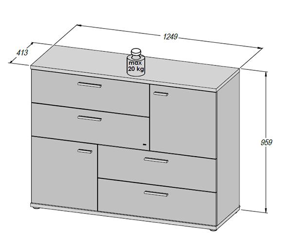 kommode sideboard anrichte schubladen sandeiche wei 125cm 62956 ebay. Black Bedroom Furniture Sets. Home Design Ideas