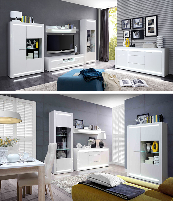 wohnwand anbauwand 4 teilig wei wei hochglanz inkl beleuchtung 339cm neu wohnw nde. Black Bedroom Furniture Sets. Home Design Ideas
