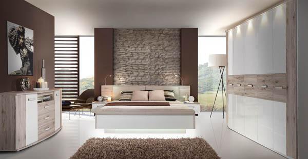 Schlafzimmer Schlafzimmergarnitur sandeiche / sandeiche weiß ...