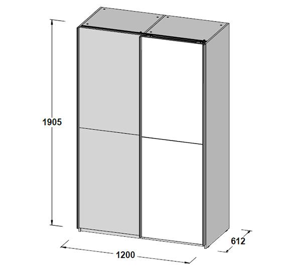 schwebet renschrank kleiderschrank schlafzimmerschrank 120cm wei spiegel 62988 ebay. Black Bedroom Furniture Sets. Home Design Ideas
