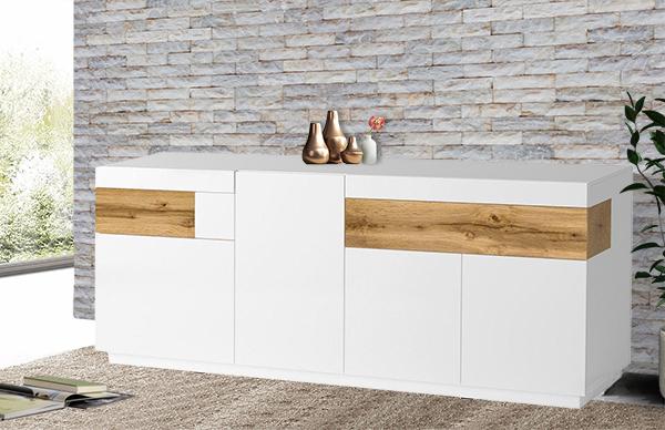 sideboard kommode anrichte 218 5cm wei hochglanz votaneiche 23578520 13519 ebay. Black Bedroom Furniture Sets. Home Design Ideas