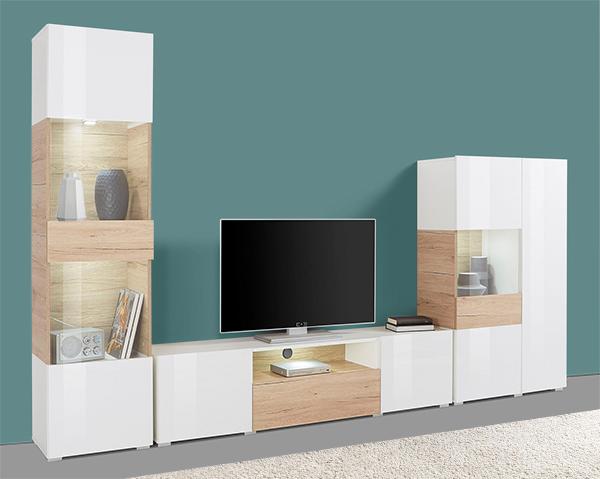 wohnwand anbauwand mediawand wei wei hochglanz sanremo eiche 13551 wohnw nde. Black Bedroom Furniture Sets. Home Design Ideas