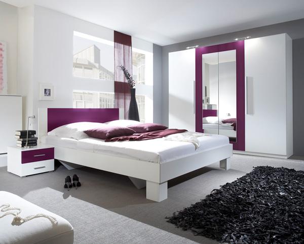 Schlafzimmer komplett 4-teilig mit Kleiderschrank weiß ...