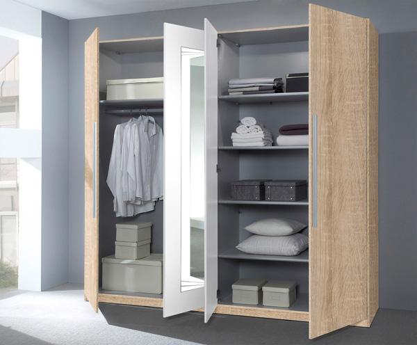 Schlafzimmer Komplett 4 Teilig Mit Kleiderschrank Weiß Lila Neu