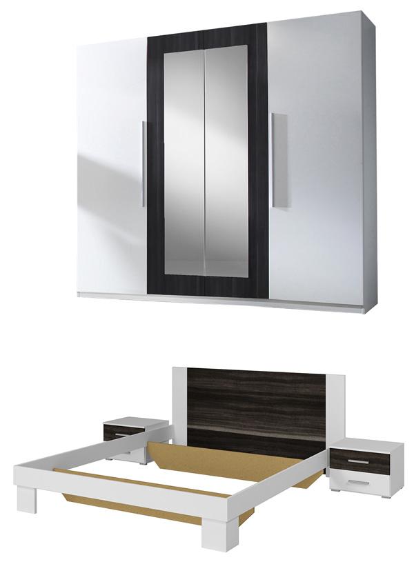 Schlafzimmer komplett 4-teilig weiß / nussbaum schwarz Neu ...
