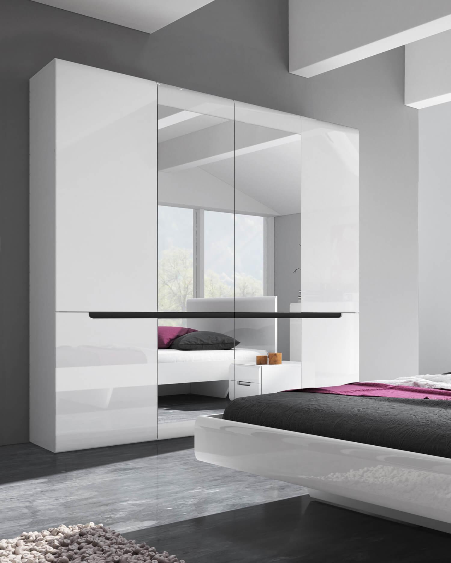 Kleiderschrank 181cm Weiß Hochglanz Modern Schlafzimmer