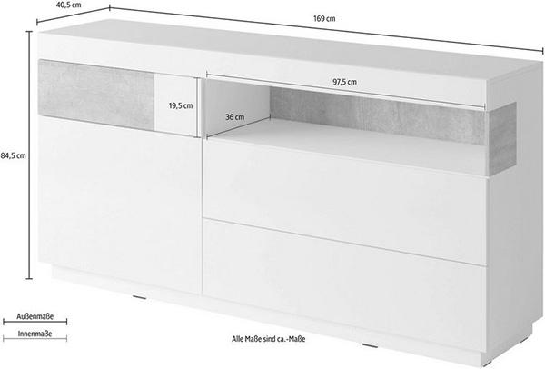 sideboard kommode anrichte schrank wei hochglanz beton 150cm 17934861 ebay. Black Bedroom Furniture Sets. Home Design Ideas