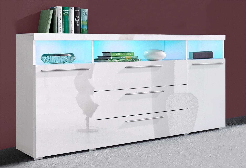 sideboard anrichte kommode mehrzweckschrank wei wei hochglanz 182cm 704708 ebay. Black Bedroom Furniture Sets. Home Design Ideas