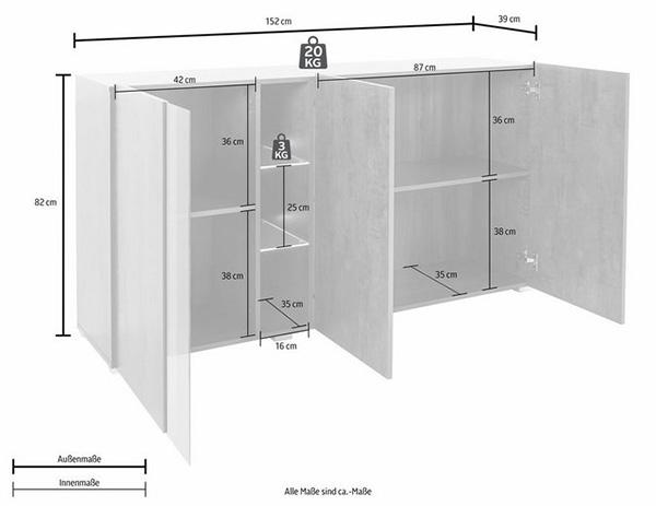 sideboard kommode anrichte mehrzweckschrank 152cm edelrost 75525754 ebay. Black Bedroom Furniture Sets. Home Design Ideas