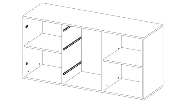 Sideboard Mehrzweckschrank Kommode Anrichte 180cm Weiss Weiss