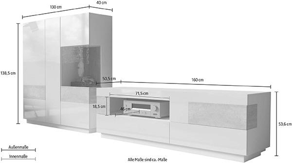 wohnwand wohnzimmer anbauwand 290cm wei wei hochglanz beton 13885 wohnw nde wohnzimmer. Black Bedroom Furniture Sets. Home Design Ideas