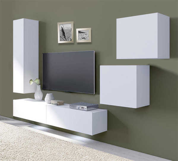 wohnwand anbauwand mediawand wohnzimmer 5 teilig h ngeelemente wei 69057314 ebay. Black Bedroom Furniture Sets. Home Design Ideas