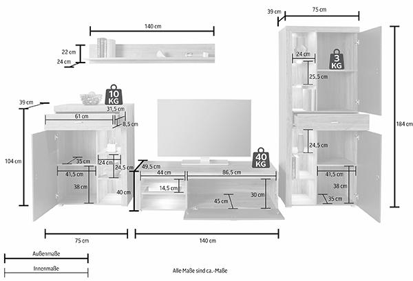 wohnwand anbauwand 4 teilig stirling eiche anthrazit hochglanz neu wohnw nde wohnzimmer. Black Bedroom Furniture Sets. Home Design Ideas