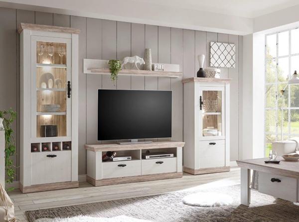 wohnwand anbauwand mediawand florenz 276cm pinie wei oslo pinie 24923631 ebay. Black Bedroom Furniture Sets. Home Design Ideas