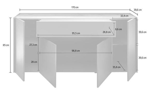 T-Star Sideboard 170cm anthrazit wotan eiche Kommode Türen Anrichte 99021128