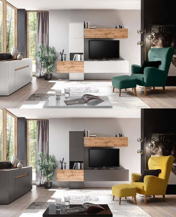 top star wohnwand 240cm anthrazit wotan eiche mediawand h ngeschrank wohnw nde wohnzimmer. Black Bedroom Furniture Sets. Home Design Ideas