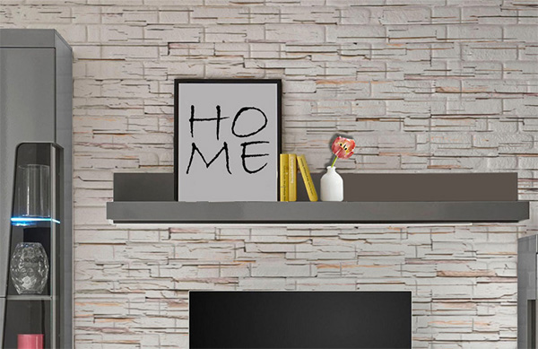 wandregal wandboard regal goba 210cm grau grau hochglanz neu regale wohnzimmer feldmann. Black Bedroom Furniture Sets. Home Design Ideas