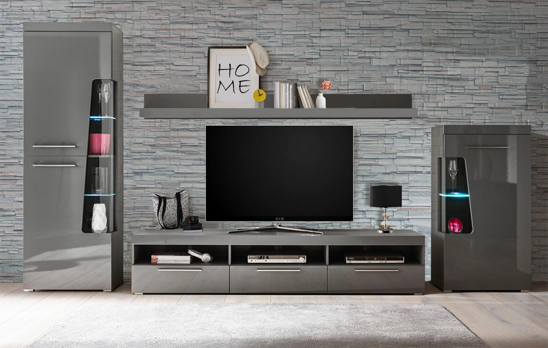wohnwand anbauwand mediawand goba 4 teilig grau grau. Black Bedroom Furniture Sets. Home Design Ideas