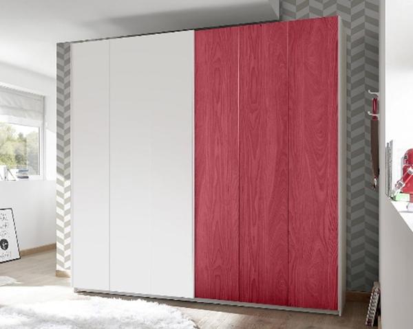 schwebet renschrank kleiderschrank 179cm wei wei rot ausstattungen w hlbar neu. Black Bedroom Furniture Sets. Home Design Ideas