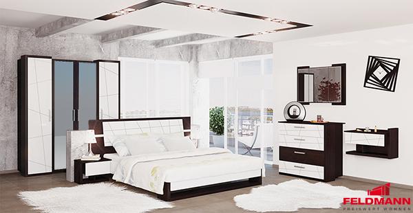 Details zu Schlafzimmer komplett 4tlg mit Ehebett eiche niagara / weiß  hochglanz MH-115-01