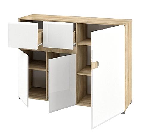 Sideboard Kommode 140cm Sonoma Eiche Weiss Hochglanz Neu